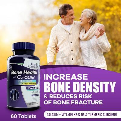 Earth's Creation Bone Health with Calcium, Turmeric, Vitamin D & Vitamin K2 – 60 Tablets – Support Bone Health, Increase Bone Density