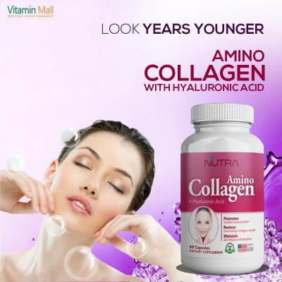 Nutra Botanics Amino Collagen + Hyaluronic Acid - 60 Capsules - Best Collagen Supplement to Reverse Sign of Aging