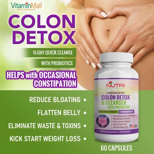 Nutri Botanics Colon Detox & Cleanser with Probiotics for Weight Loss – 15 Days Fast Acting Colon Cleanse – Natural Laxatives for Constipation Relief, Reduce Bloating, Eliminate Waste and Toxins – 60 Detox Capsules