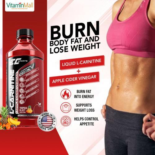 EC Sports Liquid L-Carnitine 3000mg with Apple Cider Vinegar | 498ml | Tropical Blast Flavor | Burn Fat, Lose Weight
