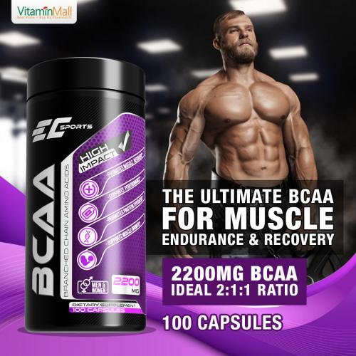 EC Sports 100% BCAA 2: 1: 1 Branched Chain Amino Acid 2200mg | 100 Capsules