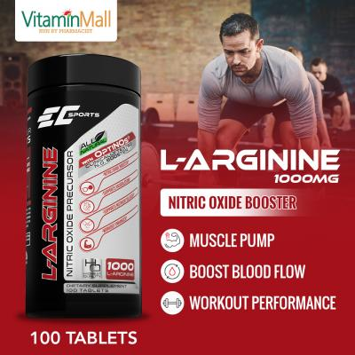 EC Sports L Arginine 1000mg Nitric Oxide Precursor - 100 Tablets - With Clinically Tested OPTINOs Nitric Oxide Booster - Experience Intense Muscle Pump & Better Recovery