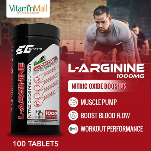 EC Sports L Arginine 1000mg Nitric Oxide Precursor | 100 Tablets