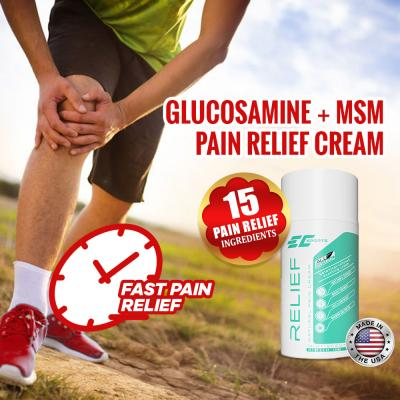 EC Sports Pain Relief Cream with Glucosamine & MSM – 100ml – Mint Scent – 15 Natural Ingredients for Fast & Long Lasting Relief for Joint Pain, Arthritis, Knee Stiffness, Back Pain, Neck Pain, Sore Muscle, Muscle Ache, Sprain, Frozen Shoulder