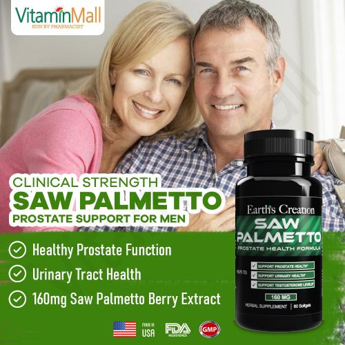 Earth Creation Saw Palmetto Prostate Health Formula for Men – 60 Softgels – Clinical Strength to Promote Prostate & Urinary Health, Reduce Urges to Urinate, Decrease Frequent Bathroom Trips, Improve Urine Flow & Stream