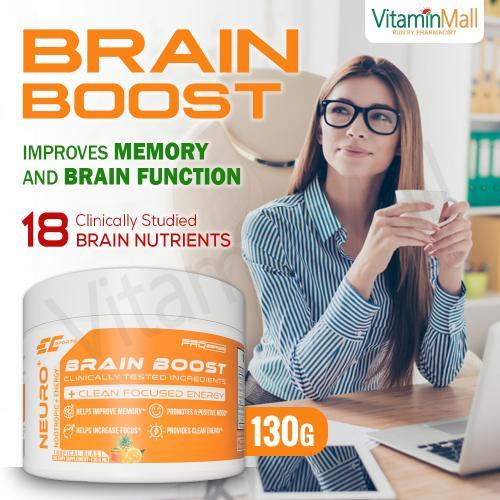 EC Sports Neuro+ Brain Boost – Improve Memory, Increase Focus, Nootropics Brain Supplement -  130g - Tropical Blast Flavor – Support Cognitive Function & Better Brain Health