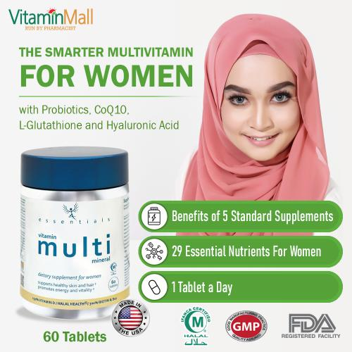 Essentials Halal Women Multivitamin – 60 Tablets - The Smarter Women Multi  Vitamins With Probiotics, L Glutathione, CoQ10, Hyaluronic Acid & Vitamins - Made in USA - Halal