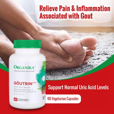 Organika Goutrin Gout Control Supplement – Relief for Gout Related Joint Pain, Lower Uric Acid & Prevent Gout Attack - With Celery Extract, Cherry Extract – 60 Vegetarian Capsules – Flash Out Uric Acid - Support Healthy Uric Acid Level