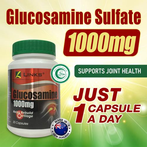 Links Halal Certified Glucosamine 1000mg, 30 Capsules, Easy to Swallow Glucosamine Supplement For Joint Pain Relief