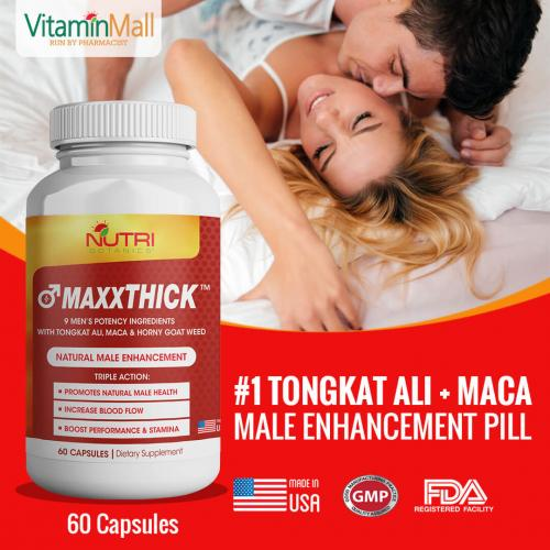 MAXXTHICK Male Enhancement Pill for Men with Tongkat Ali, Maca & Horny Goat Weed - 60 Capsules - Male Enhancement Formula for Powerful Stamina, Strength, Energy, Sex Drive & Endurance - Best tongkat ali supplement