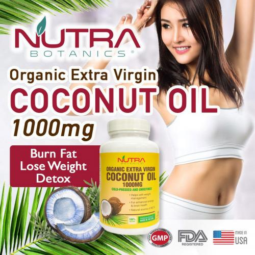 Nutra Botanics Organic Extra Virgin Coconut Oil 1000mg - 60 Softgels - Support Weight Loss, Healthy Brain Function, Skin, Hair Growth - Rich in MCT