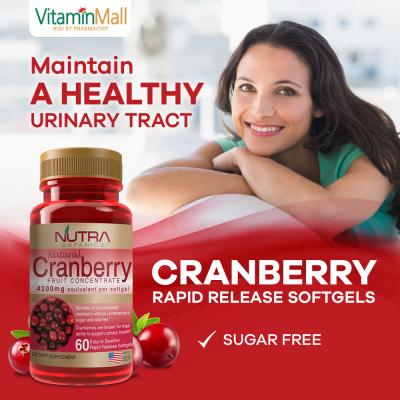 Nutra Botanics Cranberry Fruit Concentrate - 60 Softgel - Cranberry Supplement for Urinary Tract Health, Cleanse & Protect the Urinary Tract – Sugar Free – Just 2 Softgels = 1 Glass of Cranberry Juice