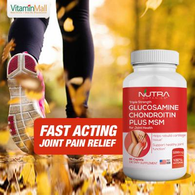 Nutra Botanics Triple Strength Glucosamine Chondroitin MSM - 60 Tablets - Joint Support Supplement for Joint Pain Relief - With 1500mg Glucosamine Sulfate to Lubricate Joint & Promote Joint Health