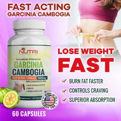Nutri Botanics Maximum Strength Garcinia Cambogia 1600mg – Fast Acting Fat Burner, Powerful Carb Blocker, Effective Appetite Suppressant – 100% Natural Weight Loss  Supplement - 60 Capsules