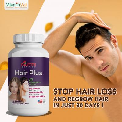Nutri Botanics Hair Plus - 60 Tablets - Stop Hair Loss and Regrow Hair - Hair Growth Supplement with Biotin, Collagen, Keratin & More! - 27 Hair Vitamins - Hair Supplement that Work for Both Men & Women - For All Hair Types
