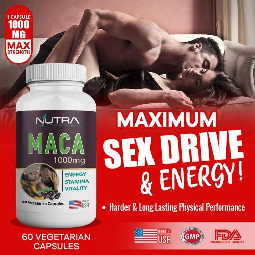 Nutra Botanics Maca 1000mg - 60 Vegetarian Capsules - Boost Sex Drive - Promotes Energy, Performance - Maca Supplement for Men & Women
