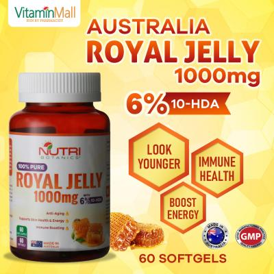 Nutri Botanics Royal Jelly 1000mg with 6% 10-HDA – 60 Softgels - Immune Booster, Enhance Energy, Anti Aging, Younger Looking Skin - Pure Australia Royal Jelly Supplement