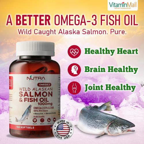 Nutra Botanics Wild Alaskan Omega 3 Salmon Fish Oil 1000mg – 100 Softgels – Omega-3 Supplement for Heart Health – Halal Certified – Molecular Distilled Wild Caught Fish Oil with EPA, DHA