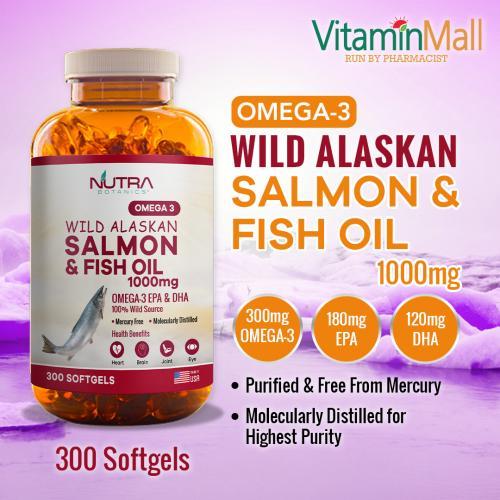 Nutra Botanics Omega 3 Wild Alaskan Salmon & Fish Oil 1000mg – 300 Softgels – With Omega-3 EPA & DHA for Heart, Brain & Joint Support – Molecular Distilled Fish Oil Supplement