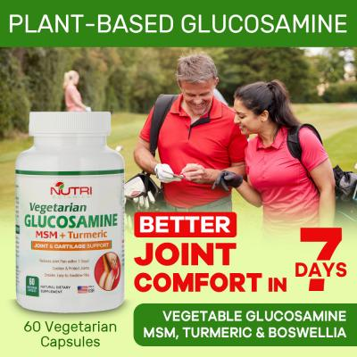Nutri Botanics Vegetarian Glucosamine MSM Turmeric for Joint & Knee Pain Relief - 60 Capsules - Joint Support Supplement
