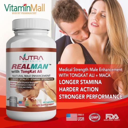 Nutra Botanics REALMAN with Tongkat Ali - 60 Capsules - Top Natural Male Enhancement Pill that Work - Support Sex Drive, Stamina & Performance