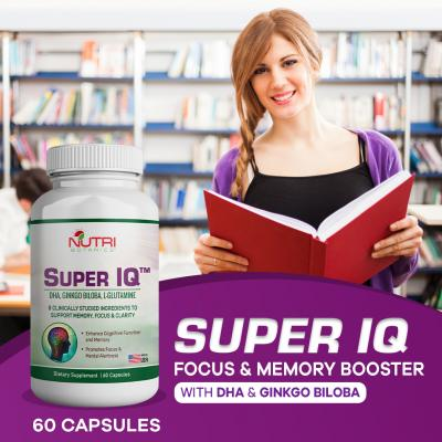 Nutri Botanics Super IQ Memory Booster Brain Supplement – 60 Capsules – With Ginkgo Biloba, DHA – Keep Your Mind Sharp & Memory Strong – Memory Supplement – Boost Concentration & Improve Memory
