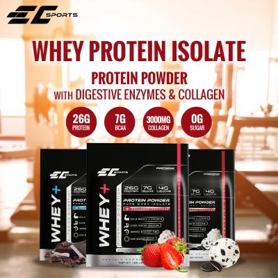 EC Sports Whey+   The Smarter Whey Protein Isolates with Digestive Enzymes & Collagen Peptides - 2LB - 3 Flavors