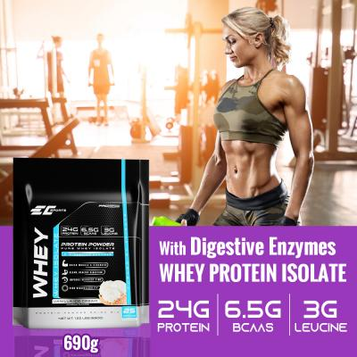 EC Sports Whey Protein Isolate with Digestive Enzymes – 690g – Vanilla Ice Cream – 24g of Protein, 6.5g BCAA – 25 Serving – Increase Muscle & Strength – High Bioavailability
