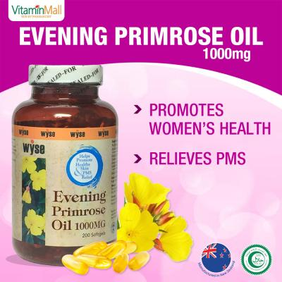 NZ Wyse Evening Primrose Oil 1000mg, Halal, 200 Softgels, Cold Pressed EPO Supplement with GLA (Gamme-Linolenic Acid) - Hormonal Balance for Women - PMS, Menopause Relief